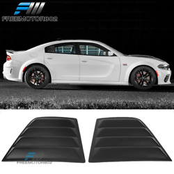 Fits 11-21 Dodge Charger V2 Style Window Scoop Side Louver Cover Matte Black Pp