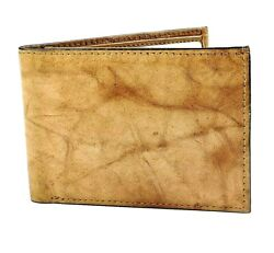 FINA Men's Brown Top Quality Leather ID Wallet Very Light 1oz Beautiful Grain