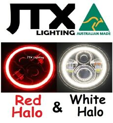 1pr Jtx 7 Led Headlights Red And White Land Rover Defender 90 110 130