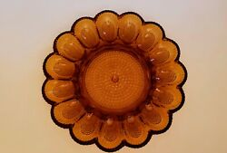 Vintage Indiana Glass Egg Plate Tray Hobnail Amber Glass 11