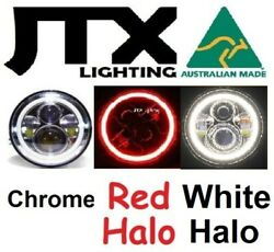 1pr Jtx Chrome 7 Led Headlights Red And White Land Rover Series 1 2 2a 3