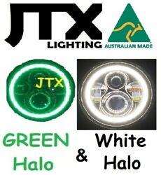 1pr Jtx 7 Led Headlights Green And White Land Rover Series 1 2 2a 3