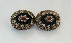 Gorgeous Antique Gold And Silver Natural Ruby Black Onyx Brooch, Sold As Is