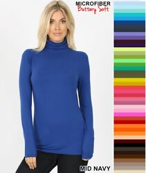 Zenana Mock Turtleneck Buttery Soft Long Sleeve Microfiber Top S M L XL *USA* $11.95