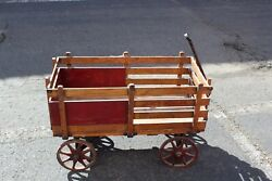 Antique Wood Wagon Cart Country Primitive Wagon With Handle Farm Barn