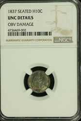 Liberty Seated Silver Half Dime.1837 Ngc Unc Details. Toned. Lot 4736469-002