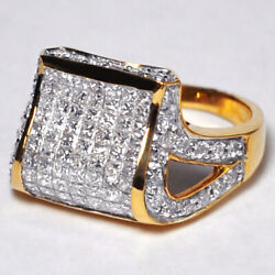 Womens Invisible Princess Diamond Dome Signet Pinky Ring Solid 14k Yellow Gold