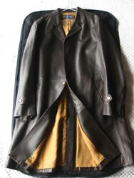 ARNYS PARIS Leather Long Coat Brown Men's Size 52 Made in France Luxury Y72A