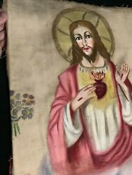 Antique 1800's Victorian Mexican Folk Art Religious Jesus Sacred Heart Painting