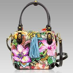 Marino Orlandi Designer Abstract Printed Floral Leather Box Bag Crossbody Purse