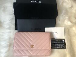 Chanel 17C Blush Pink Wallet on Chain (WOC) in Chevron Calf in Brush Gold
