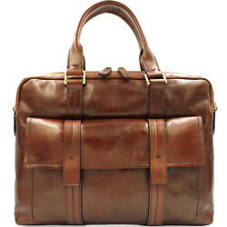 THE BRIDGE Made in Italy designer vintage style brown leather men's business bag