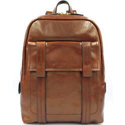 THE BRIDGE Made in Italy designer vintage style brown leather men's backpack