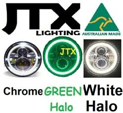 1pr Jtx 7 Led Chrome Headlights Green And White Land Rover Series 1 2 2a 3
