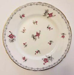 Shelley Charm Pink Flower 8 Salad Plate With Crochet Border And Gold Edge