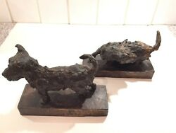 Signed Parsons Scottish Terrier Dog Bronze Bookends