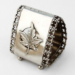Triangle Footed Napkin Ring Applied Leaf Silverplate