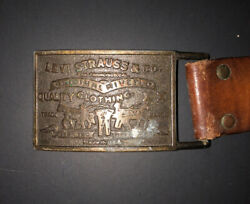 Vintage Authentic Levi Strauss And Co. Belt Buckle/leather Belt Size 30