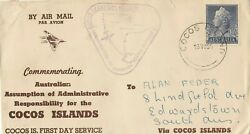 Stamp Australia 1955 Cocos Island Airmail Wide World Flight Cover Violet Cachet
