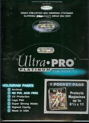 100 Ultra Pro 8 1/2 X 11 Magazine Size 1 Pocket Page Beckett Album Pages