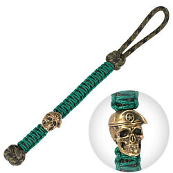 Cool Paracord Keychain Knife Lanyard Decorated With Brass Army Skull Edc Bead