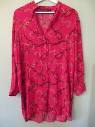 Zara Basic tunic top size small RED printed belt design V neck **flaw**hole Left
