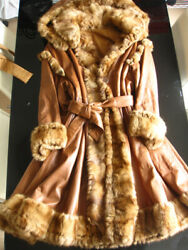 FENDI Silk Fur × Leather Long Coat Brown Ladies Size 40 Made in Italy Y72A