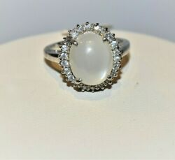 925 Sterling Silver Natural Gemstone Moonstone Cz Fine Ring Jewelry For Women
