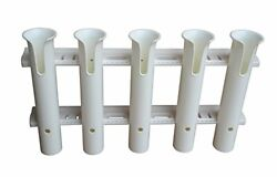 Easy Mount Integrated Stand-offs Tackle Rack Fishing Rod Holder 5-rod White