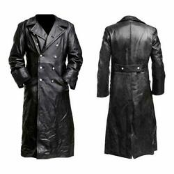 Menand039s Classic Ww2 German Military Officer Uniform Leather Trench Coat - New Sale