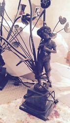 Pair Of 19 Th Century Bronzes Young Fisher Girl And Boy Bronze Figures Detailed