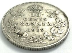 1919 Canada 10 Ten Cent Silver Dime Canadian Circulated George V Coin L549