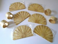 Antique Genuine Mother Of Pearl Sea Shell Napkin Rings And Drink Coasters Orig Box