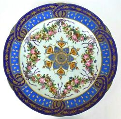Beautiful Sevres Ornate France Large Cabinet Wall Plate Blue Gold Floral 17 1/2