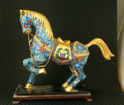 Rare Old Cloisonne Hand Painting Blue Horse Statue Figure Collectable Home Deco