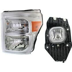Headlights Lamps Set Of 2 Left Hand Side For F250 Truck F350 F450 Driver Lh Pair