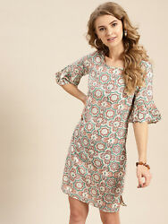 Lady Gorgeous Sheath Dress Cotton Printed Cream-coloured And Rust Brown