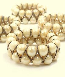 4 Napkin Rings Antique Pearl Beads And Twisted Gold Tone Wire Victorian Style
