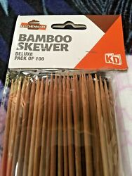Deluxe Bamboo Skewers Bbq Grill Skewer Pack Of 100 Bamboo Shish Kebabs | Hyt