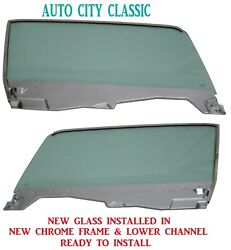 Left And Right Door Glass Green Mustang Convertible 1964 1965 1966 In Chrome Frame