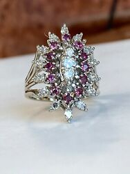 Vintage - Antique 1.00 Ct Diamond And Ruby Cluster Ring
