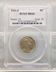1931 S 5c Buffalo Nickel Pcgs Ms65 Series 19 Coin 52