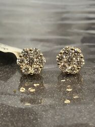 1.90ct Natural Diamond Flower Shaped Halo Cluster Stud Earrings 14k Yellow Gold