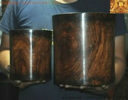 9old Chinese Huanghuali Wood Carved Calligraphy Tool Brush Pot Pencil Vase Set