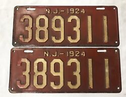 1924 New Jersey License Plate Set Pair 389311 Very Rare Great Antique Vin.
