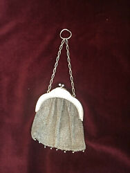 Victorian Antique Silver Mesh Coin Purse With Silver Beading Detail--stamped