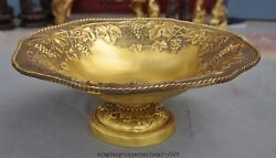 14chinese Pure Brass Copper Carved Grape Ancients Comport Fruit Tray Dish Plate