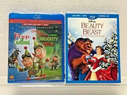 2 New Sealed Disney Blu-ray Prep And Landing / Beauty And Beast Christmas