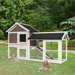 52.8quot; Wooden Chicken Coop Rabbit Hutch Hen Animal House Pets Cage with Tray