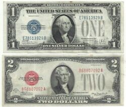 1928 1 Funny Back Silver Cert And 2 Legal Tender Xf Condition. Minor Stains